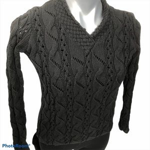 Charter Club black chunky cable knit sweater, EUC
